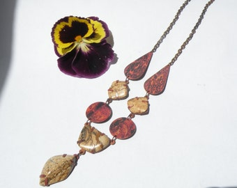 Flame colored copper necklace with natural picture jasper stones - Copper and natural stones jewelry