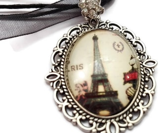 Necklace in black organdy, with pendant cabochon, Tower Eiffel. cabochon in glass, idea gift, gift for women, gift for her, done to hand