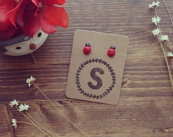 Ladybug earrings, Ladybug studs