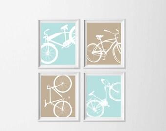 Bicycle Art Prints , Kid's Room Bike Wall Art , Nursery Boy Wall Decor , Neutral Nursery Bike Wall Art Prints , Big Boy Room Art