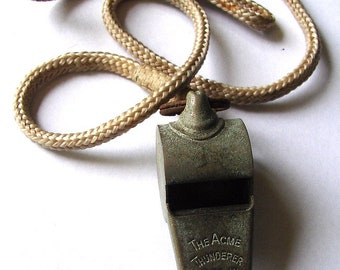 Vintage ACME POLICE WHISTLE with Cork Ball Made in England attached to original cord