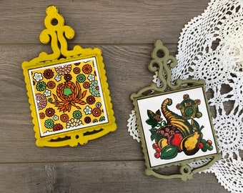 Set of Two Decorative Tiles in Cast Iron Frame.  Vintage Trivets.  Made in Japan.  Kitchen Decor