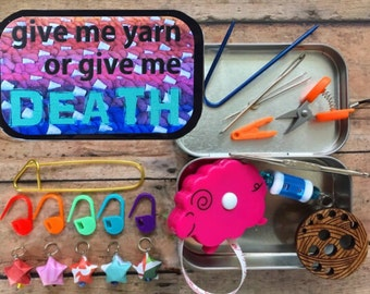 Give me yarn or give me DEATH: The Knitter's Tool Tin with notions for your Knitting Project Bag