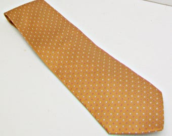 FREE SHIPPING Daniel De Fasson Vintage Necktie 100% Silk Hand Made Golden Caramel Print Neck Tie Men's Designer Fashion Neckwear Accessory