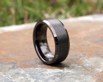 Gunmetal Beveled Edge Brushed & Polished Tungsten Carbide Ring • Men's 8mm Wedding Band • Hand Engraved • Ring Box Optional • (SKU: 348GUP)