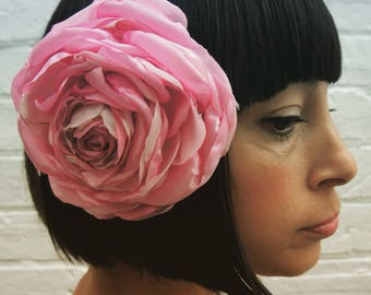Pastel pale pink recycled satin rose hair flower fascinator corsage wedding bride bridal