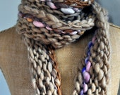 Bulky, Wrapping, Scarf, Handspun Yarn, Handknit Knit Scarf, Wool, Soft, Beige and Bits of Color, Yospun