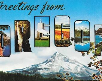 OREGON Large Letter Postcard / Vintage Greetings from OREGON Large Letters Postcard Unused, Unposted