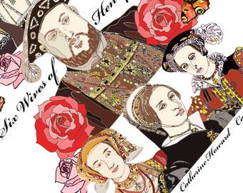 Henry VIII print featuring his six wives, Tudor, History, Anne Boleyn, King, Queen, Rose, Wall Art, Tower of London, England,