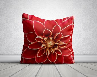 Red Dahlia Flower Pillow 18x18 Throw Pillows Mothers Day Gifts For Mom Flowers Home Decor Gifts For Her