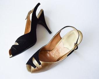 1950s High Heels   La Rose   Vintage 50s Slingback Sandals Black Suede Gold Leather Open Toe Stilettos Hand Fashioned MINT Condition Sz 5.5