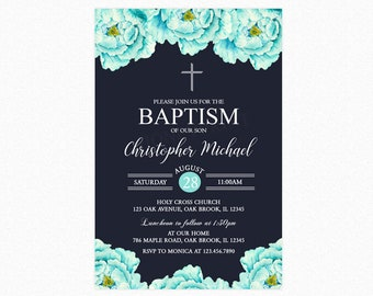 Baptism Invitation Boy, Blue Peony Floral Baptism Invitation, Christening Religious Invite, Personalized, Printable or Printed