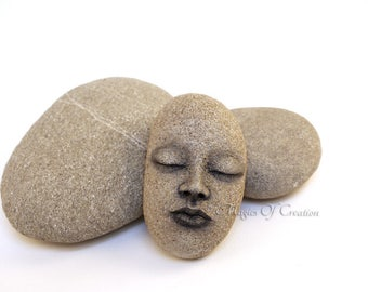 Zen decor, unusual gift for nature lovers: original rock art, hand sculpted home decor, unique paper weight for nature, zen and yoga lovers