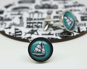 Sailing Boat Cufflinks – Mens cufflinks – Gift for him – Groomsmen Gifts - Sailing gifts