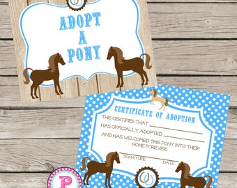 Adopt a farm animal adoption certificate horse birthday party adopt a pony pony adoption certificate horse birthday party ideas blue polka dot barn wood farm yadclub Choice Image