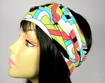 Retro Pucci Print Headband Head Wrap Boho Head Wrap Boho Headband Yoga Head Wrap Hippie Headband Coral Turquoise White Black Green Headband