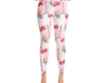 Valentine Leggings Valentine's Day Gift Girl Eiffel Tower Paris Cute Valentine Love Yoga Leggings Valentines For Her Made In The USA