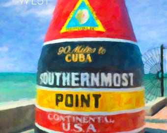 Key West Print, Southernmost Point, Key West Poster, Florida Poster, Key West Art Wall Art Home Decor #vi803