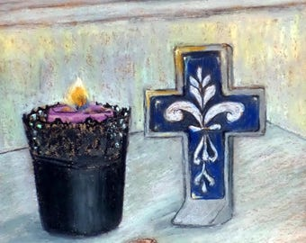 "Original Oil Pastel Painting, 9.5"" x 12.5"", Small size art, Seascape, Sea shell, Cross, Spiritual, Blue, Wall Decor, new home, gift idea"