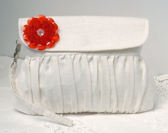 White clutch with red beaded flower for wedding / bridesmaid gift