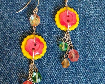 Colorful Flower button dangle earrings with glass beads.
