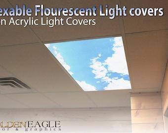 Flexible Fluorescent Light Cover Films Skylight Ceiling-Office, Medical, Dental, -Sky Clouds