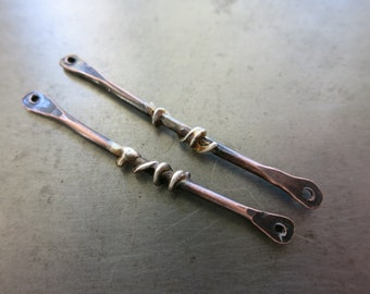 """2 Sterling Silver & Copper 1 1/2"""" Walking Sticks,  Handcrafted Connectors, Artisan Earring Dangles, Made to Order in 1 to 2 Wks"""