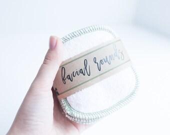 """Organic Bamboo Facial Rounds + Organic Cotton Thread  Face Cloth - Make-up Remover - 4"""" Facial Rounds - Choose your quantity  AVOCADO THREAD"""