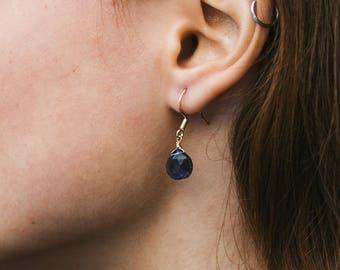 Iolite earrings. Elegant earrings. Dainty drop earrings. Dainty earrings. Delicate earrings. Bridesmaid earrings. September birthstone.