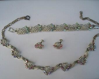 Wonderful Rhinestone & Silver Tone 3 piece Costume Jewelry Set - Necklace, Bracelet,Earrings - Marked Star - FREE SHIP