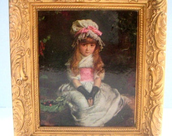 Vintage Framed Picture,Madryn Miniature,Made in England,Little Girl,Chalkware,Gilt Frame.