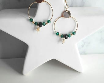 Laura, gilded with fine gold earrings, Swarovski emerald green and star charm beads