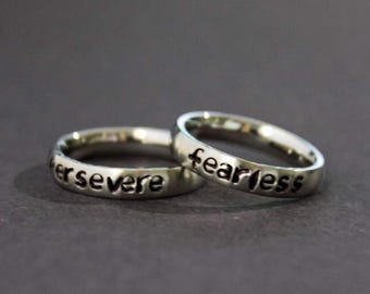 Fearless Ring, Persevere Ring, Stacking Rings, Inspirational Little Word Of The Year, Live Fearlessly Affirmation Jewelry, Graduation Gift