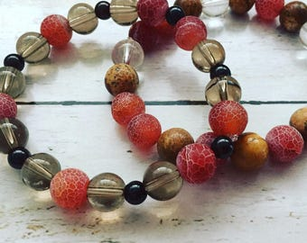 Fashion, stylish, nice looking, natural stone smooth smoky quartz, garnet, jasper, fire dragon veins agate bracelets for two or only YOU