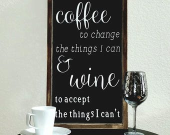 "25.5""x13.5"" Give Me Coffee and Wine/Wood Sign/Word Art/Distressed Sign/Wall Decor/Rustic"