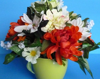 Flower Arrangement, Floral Arrangement, Silk Flowers in Bright Colors in a Beautiful Lime Green Ceramic Pot