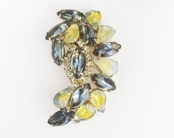 Vintage Mid Century 1950s 1960s Yellow Art Glass and Clear Rhinestone Brooch, Crescent Shape Cluster Pin