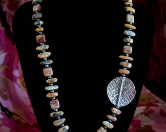 Crazy Lace Agate Necklace with Huge Hill Tribe Silver Bead