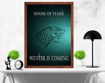 Game of Thrones  Winter is Coming Minimalist Alternative TV Series Original Artwork Print Poster
