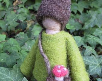 Custom Made Needle Felted Elf -- Waldorf Inspired