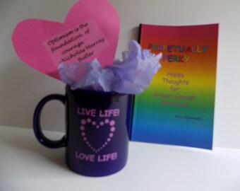 Chemo Care Package - Mug, Book, Chocolate Kisses - Grateful Alive Breast Cancer Gift