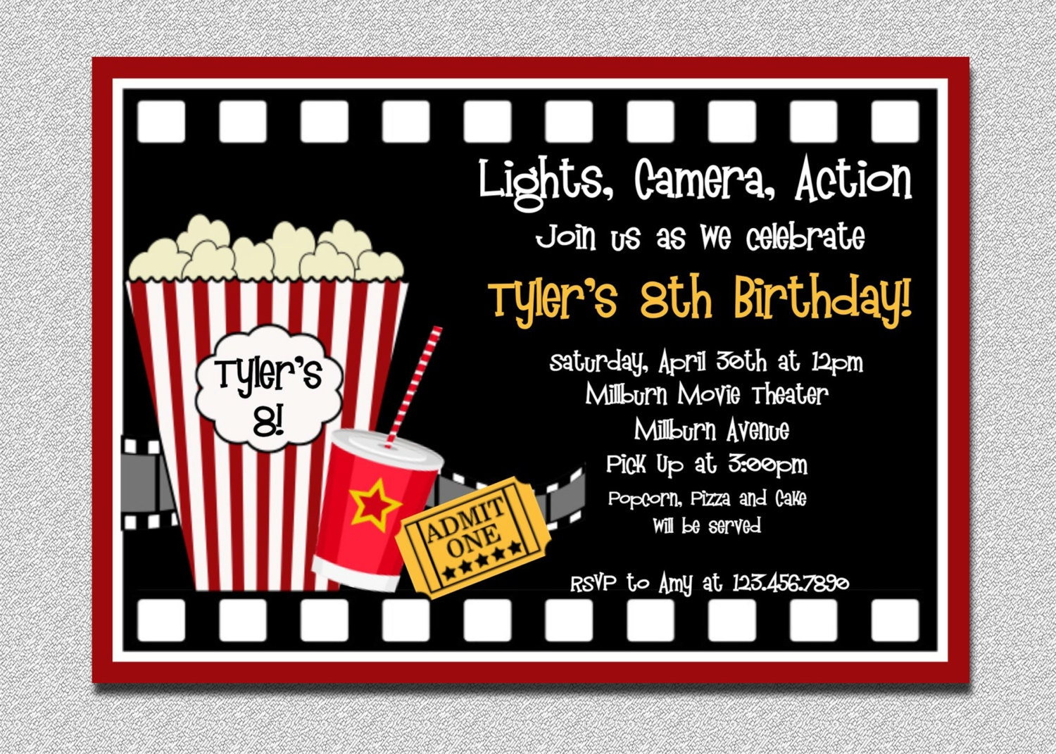 Movie Birthday Invitation Movie Night Birthday Party