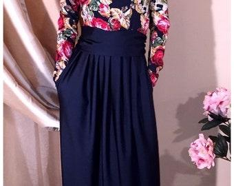 Floral Roses Navy Blue Maxi Dress Long Sleeves Pockets Sash