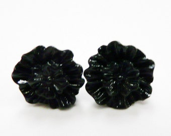 Black Rose Earrings Black Roses Ear Posts Silver Tone Studs Black Rose Earstuds Flat Rose Flower Earrings