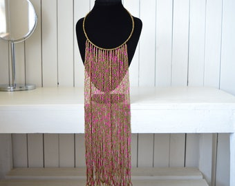Maasai Beaded Necklace | African Jewelry | Tribal Necklace | Ethnic jewelry | Copper and pink Necklace | One size fits all | Gift for Her