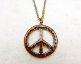 Peace and Love Necklace, Peace Necklace, Peace Sign, Hippie Necklace, Boho jewelry,