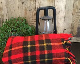 Vintage plaid blanket, red