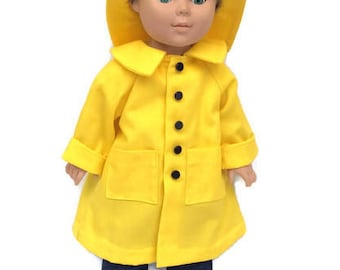 18 Inch Boy Doll Yellow Raincoat and Hat, 18 Inch Doll Clothes, Made to Order
