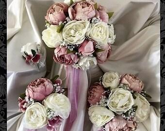 wedding bouquets,Shabby Chic, Vintage, dusky pink, Ivory, Brides, Bridesmaids, Flowergirls etc