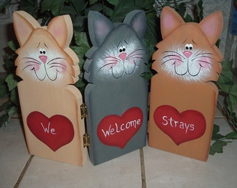 HINGED CAT SCREEN  WE WELCOME STRAYS